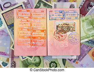 Passport with turkish visa and stamps on a different money background