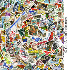 Postage stamps of the different countries, for backgrounds...