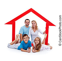 Happy home concept - young family with two kids and house...