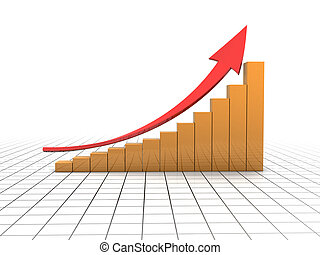 business graph - 3d illustration of business graph with...