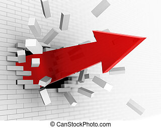 arrow breaking wall - 3d illustration of red big arrow...