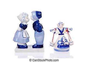Two Dutch souvenir statues