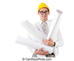 Young man with blueprints Isolated over white