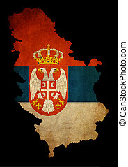 Serbia grunge map outline with flag - Map outline of Serbia...