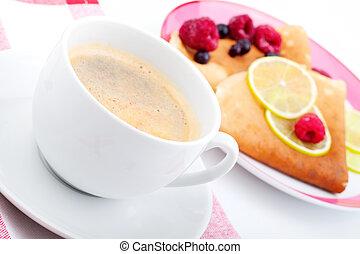blanco, café, taza, Crepes