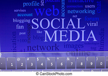 social media on tablet - social media and connected words on...