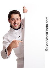 Chef cook showing at blank board Isolated over white