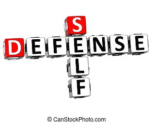 3D Self Defense Crossword cube words on white background