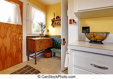 Old English kitchen corner with door - Old English kitchen...