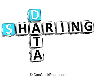 3D Sharing Data Crossword cube words on white background