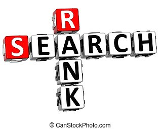 3D Search Rank Crossword cube words on white background