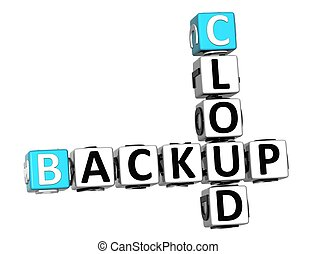 3D Backup Cloud Crossword cube words