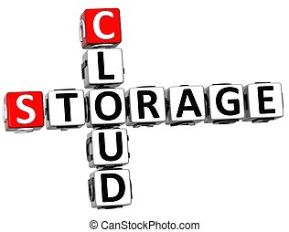 3D Storage Cloud Crossword cube words