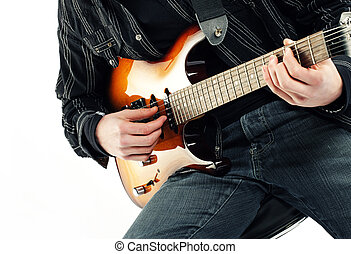 guitarist  isolated on white background