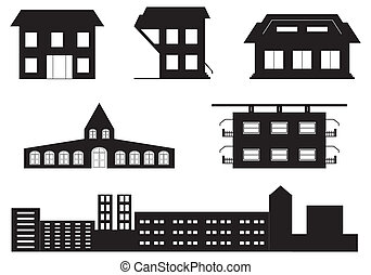 vector set of special buildings