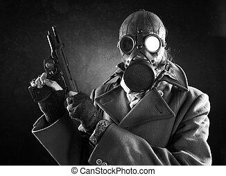grunge portrait man in gas mask with gun - grunge portrait...