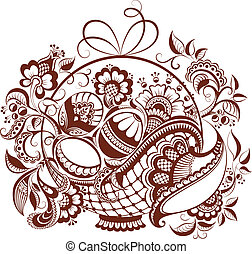 Easter floral henna design - Abstract easter composition The...