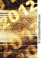 Maya prophecy. Grunge background