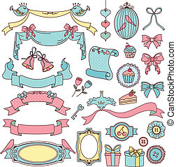vintage doodles - collection of vintage style design...