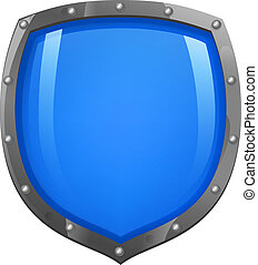 Blue shiny glossy shield