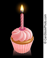 Pink fairy cake cupcake with birthday candle - Illustration...