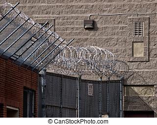 Prison Wall Razor Wire - Prison wall with barbwire and razor...