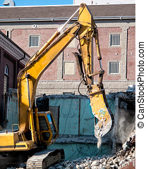 Hydraulic Excavator At Work - Hydraulic Excavator working on...