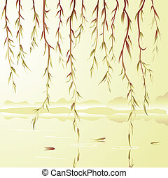 Weeping willow above the river Vector illustration