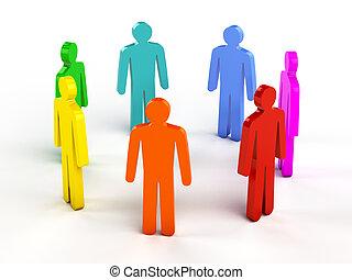 Diversidade, Trabalho equipe, social, rede, conceito