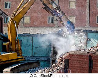 Building Demolition - Stone dust flys as a Hydraulic...