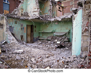 Demolished Prison - Outer walls blow out exposing the inside...
