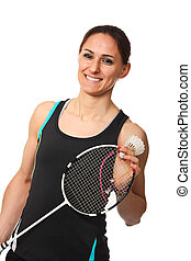 badminton player portrait - smiling woman with badminton...