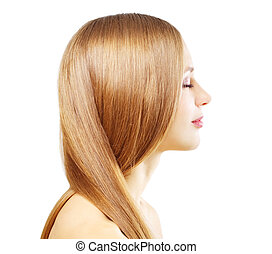Girl with beautiful straight hair isolated on a white