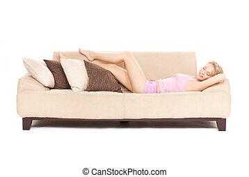 sleeping woman on sofa - bright picture of sleeping woman on...