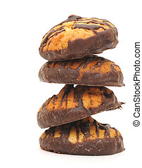 Biscuits with chocolate isolated on a white background