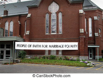 Marriage Equality Church Banner - Church displaying a extra...
