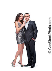 young couple wear evening dress and suit isolated on white