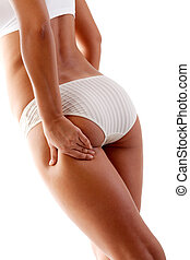 Woman touching her body