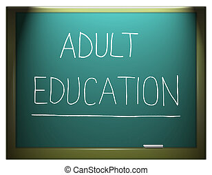 Adult education - Illustration depicting a blue chalkboard...