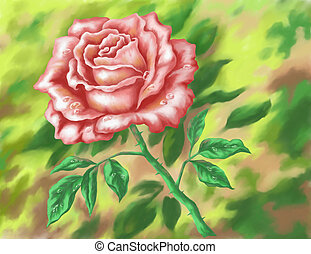 Flower rose, hand-draw painting - Flower rose on green...