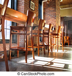 Natural wood Country Bar Stools - Low angle view of natural...
