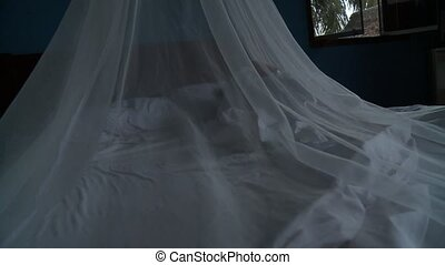 Woman Under Mosquito Net - Woman In Tropes With Mosquito Net