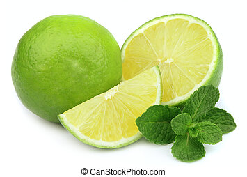 lime with mint - Whole lime and cut with mint on white...