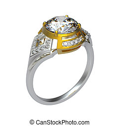 3d rendering of a diamond ring on white bacground