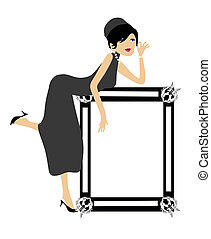 Lady leaning on a picture frame, where you can put your text...