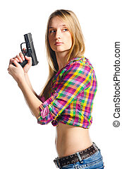 woman with gun - beautiful woman with gun on white...
