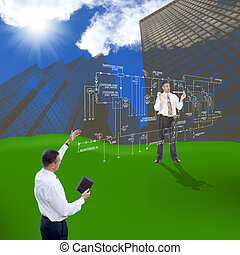 Engineering construction designing over greenfield