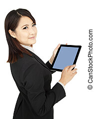 smiling businesswoman holding tablet computer and isolated...