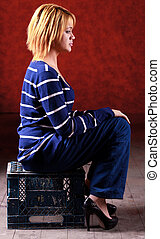 Girl sitting on the stool