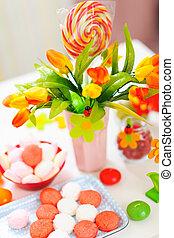 closeup, tabela, decorado, celebração